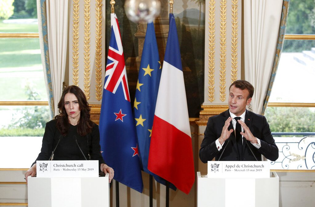 New Zealand prime minister, French president head anti-online extremism summit in Paris